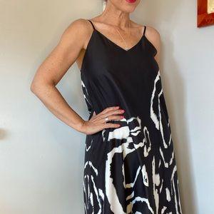 Long breezy tie dyed maxi high low silk-like dress